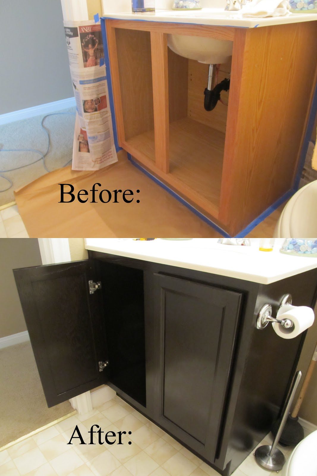 DIY Gel Stain On Bathroom Cabinets