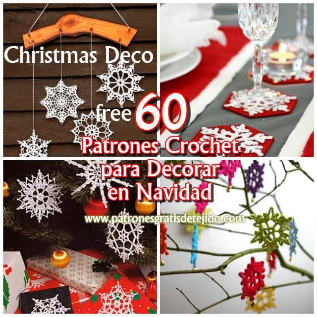 60 Patrones de Copos de Nieve Crochet / Navidad Deco Tutorial ...