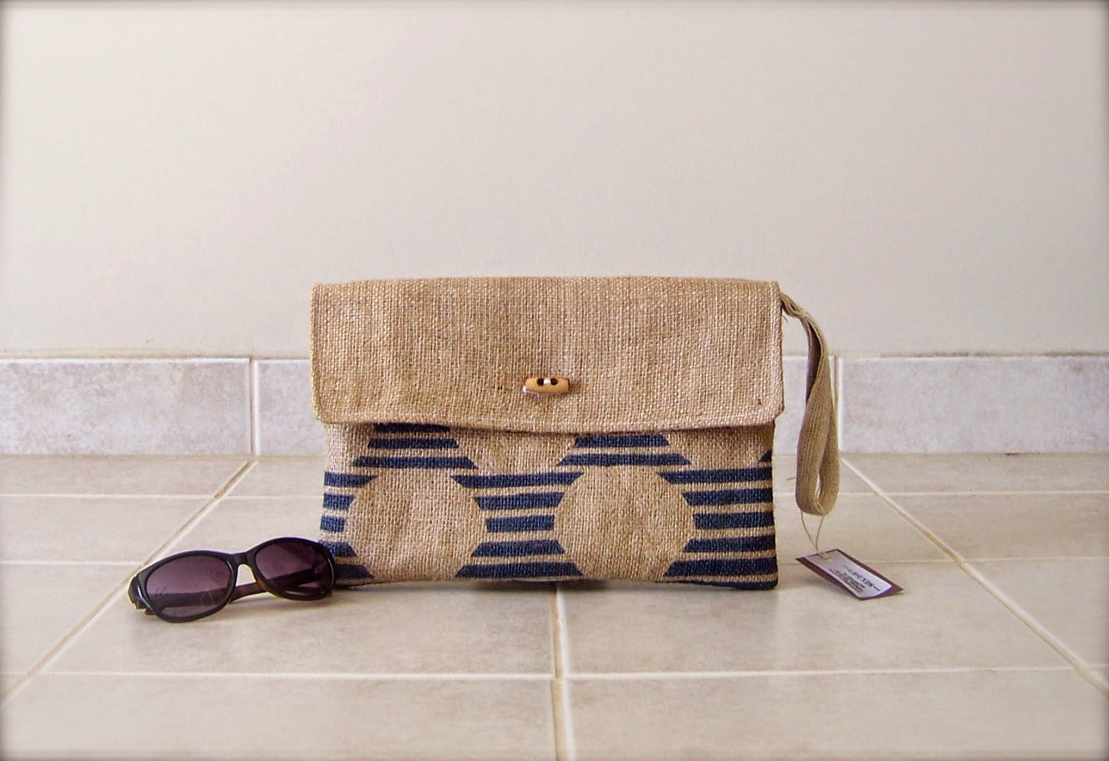 Blue Stripe Burlap Clutch - Lina and Vi - Plymouth MI