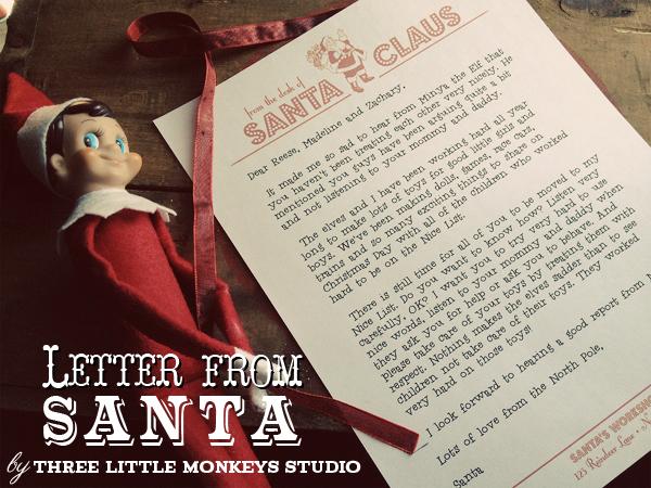 letter from Santa super legit? Pop on over to Three Little Monkeys ...