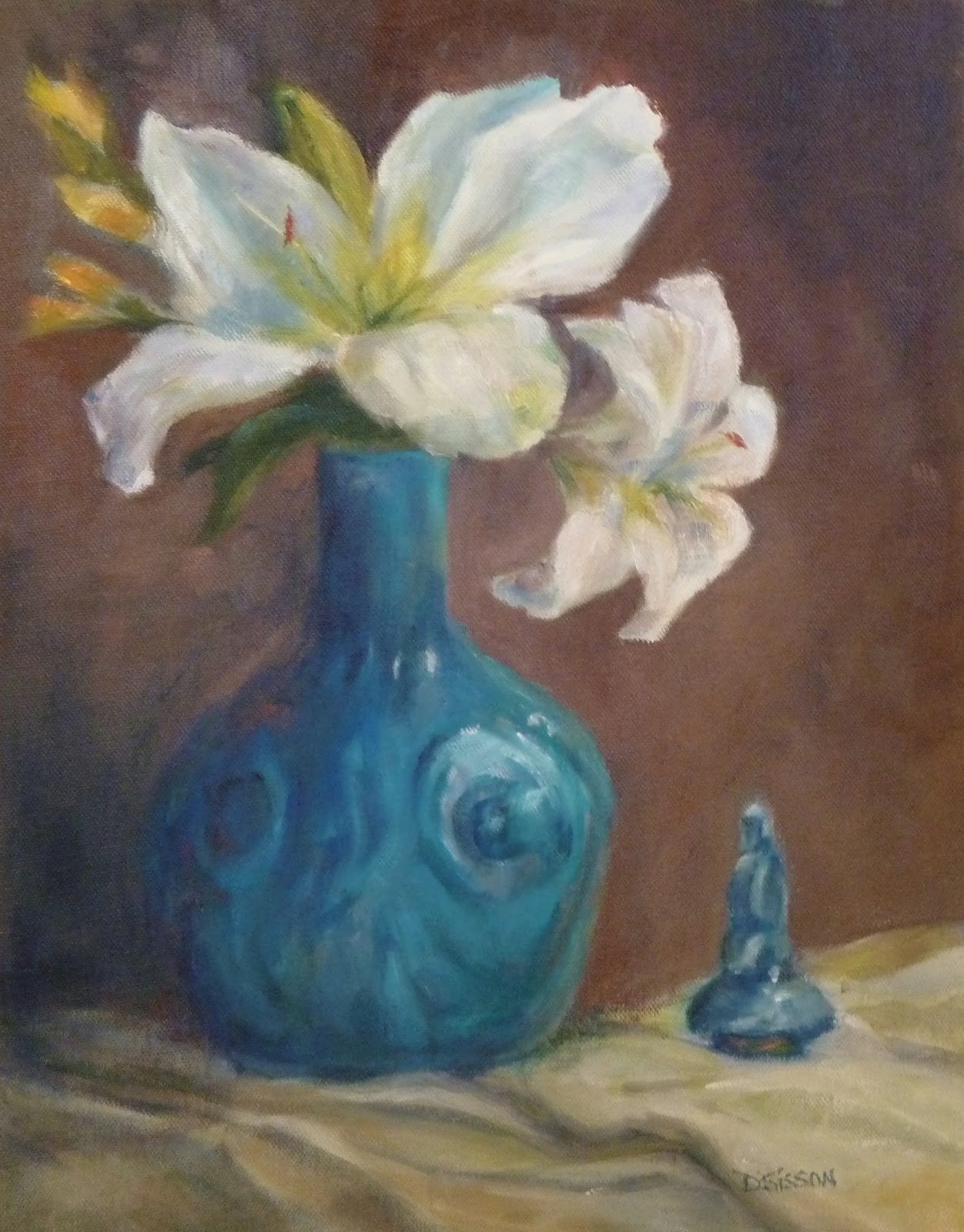 Daily Painting Projects White Lilies And Turquoise Oil Painting Art
