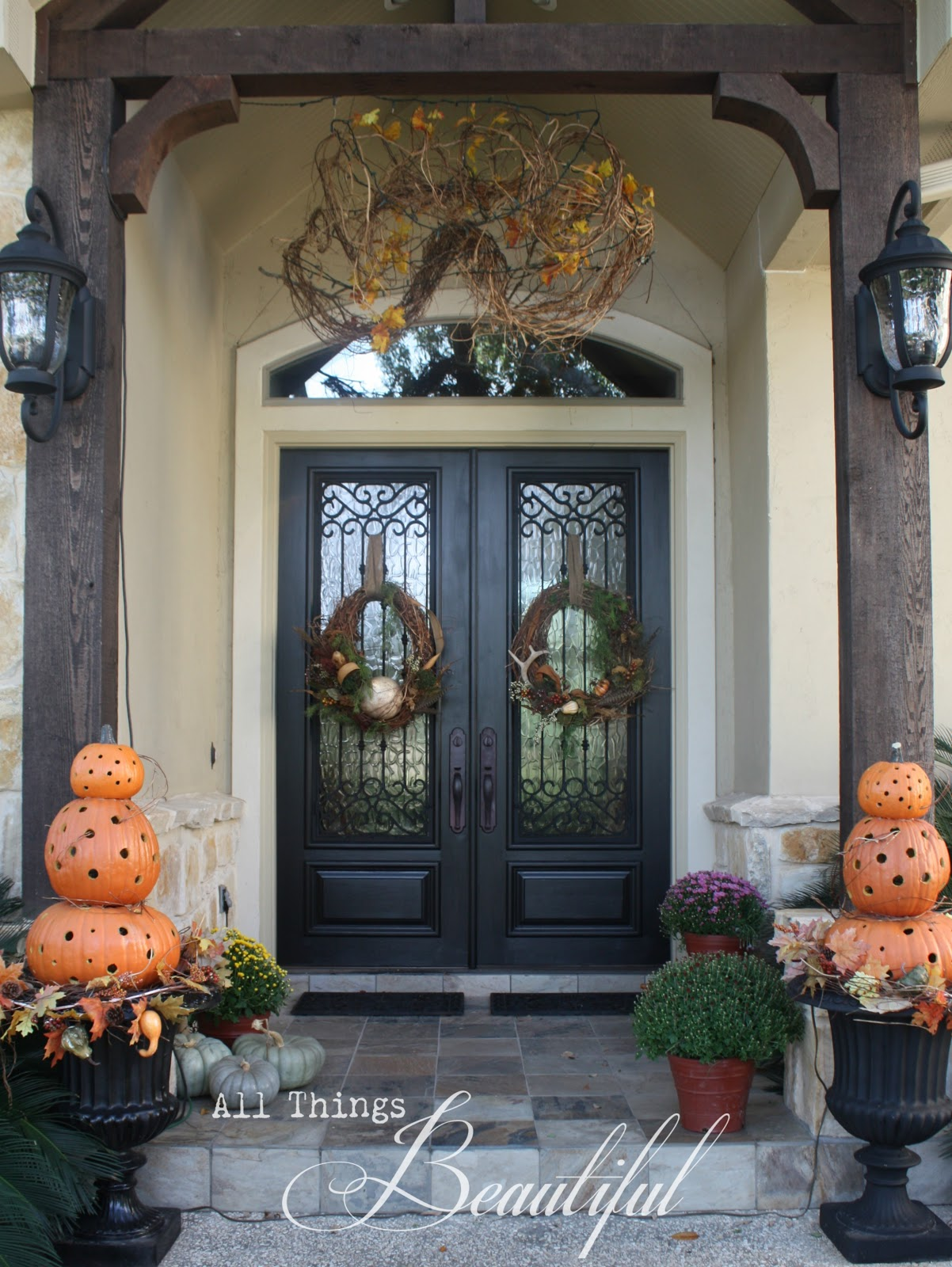 All things beautiful fall wreath porch decor Beautiful fall front porches