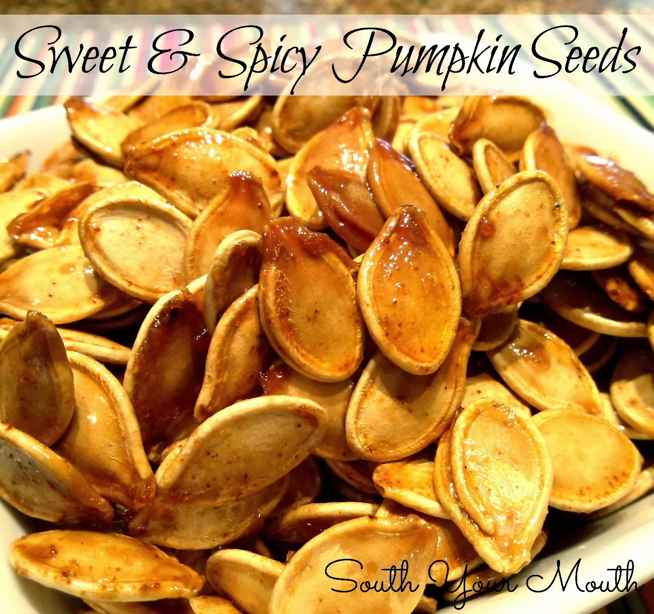 Sweet and Spicy Pumpkin Seeds! Roasted pumpkin seeds with brown sugar ...