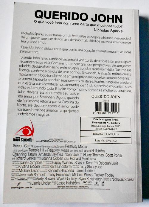 """Contra capa do livro """"Querido John"""" Nicholas Sparks com sinopse"""