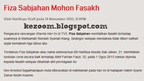 Tiada Nafkah, Pengacara WHI Fiza Sabjahan Mohon Fasakh | Menerusi sebuah portal hiburan negara, pengacara WHI, Fiza Sabjahan dilaporkan telah membuat permohonan cerai fasakh di Mahkamah Rendah Syariah Klang, Selangor selepas mendakwa tidak diberi nafkah sejak berkahwin tiga tahun lalu.