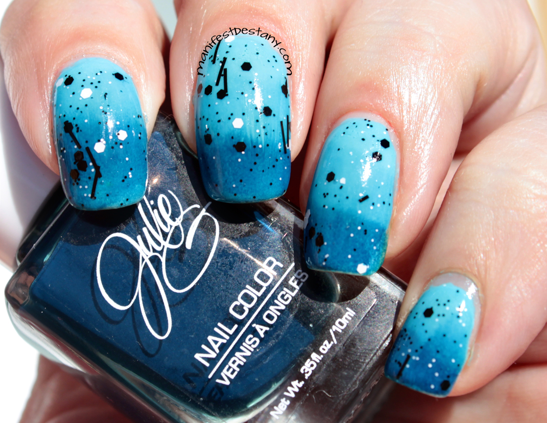 Nail art - a blue gradient with black and white glitter ...