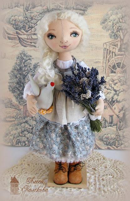 кукла из ткани, текстильная кукла, пастушка, кукла с шарнирными ногами