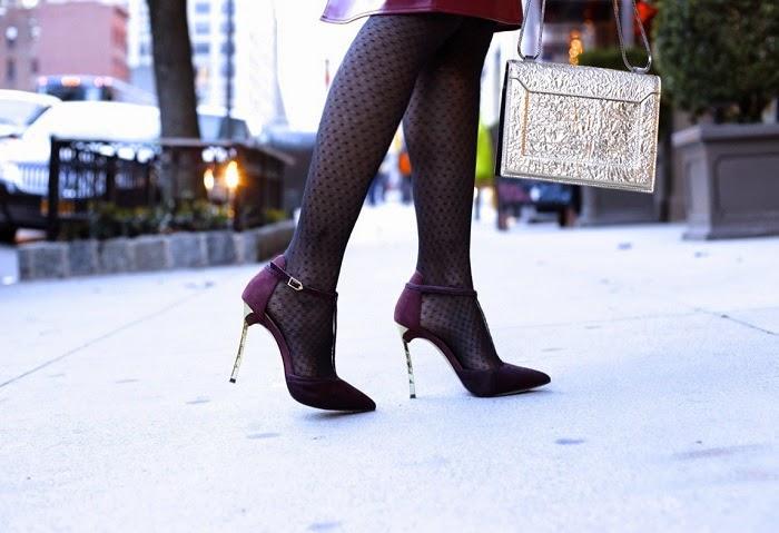 Sam Edelman Smithfield Tstrap heels, Burgundy, 31phillip Lim bag, asos burgundy skirt, fish tail braid, new hair, ted baker faux fur coat, tibi pullover, asos gloves, baublebar tiffany tear drop earrings, holiday outfit ideas, holiday sale, on sale, fashion blog, new york city
