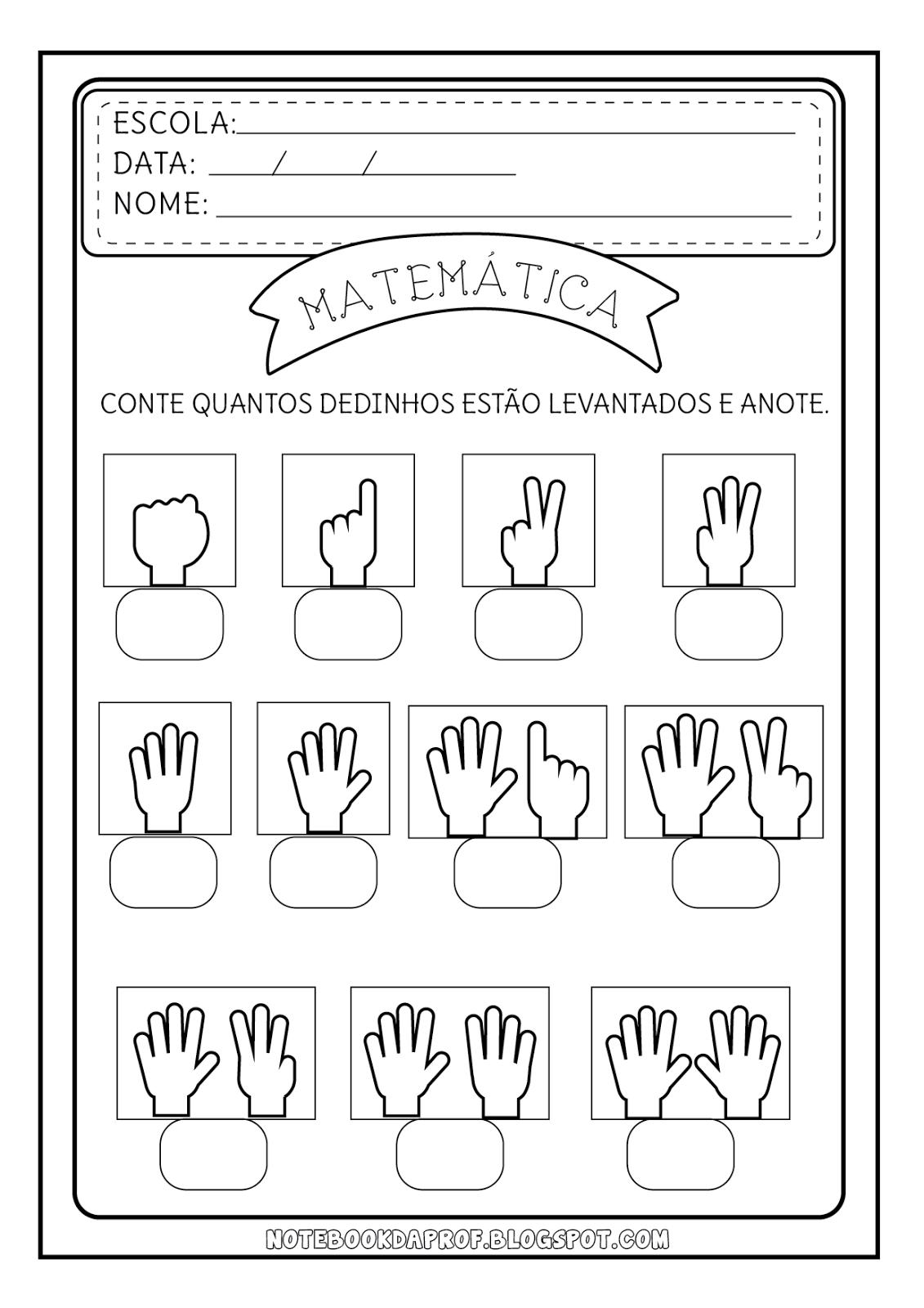 Notebook da Profª: Atividades Contando com as Mãos #646467 1131 1600