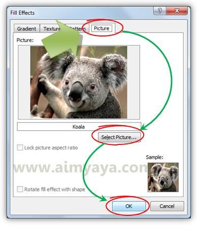 Gambar: Memilih gambar koala sebagai background dokumen microsoft word 2010