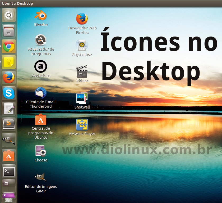 Ícones no Desktop do Ubuntu