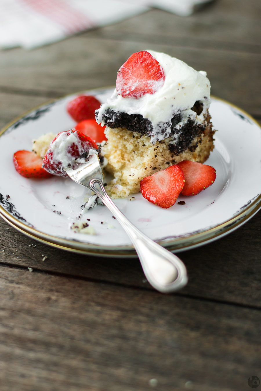 Upside Down Cake with Whipped Cream and Strawberries