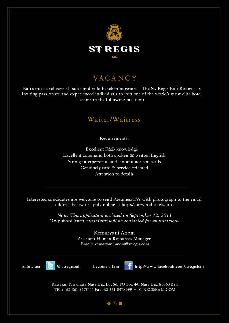 Hotel Vacancy at ST REGIS Bali as Waiter, Waitress