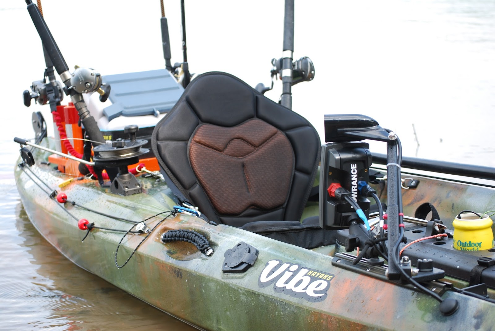Tight lines and plastic boats pictures of my rigged out for Vibe fishing kayak
