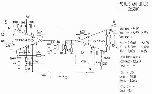 electronics circuit application   stk465 stereo power amplifier circuit