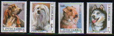 1994年ユーゴスラビア連邦共和国 バセット・ハウンド マルチーズ ウェルシュ・テリア シベリアン・ハスキーの切手