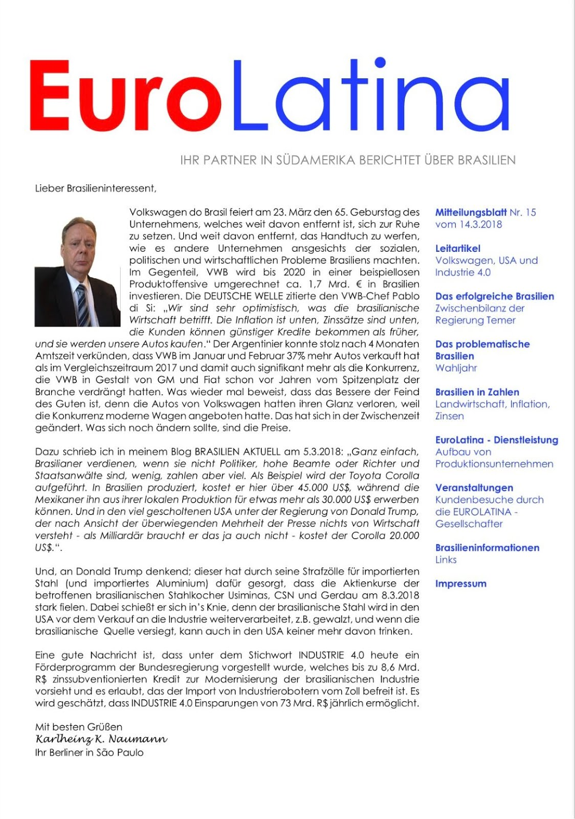 Brasilien Aktuell Eurolatina Nachrichten Nr 15 Erschienen