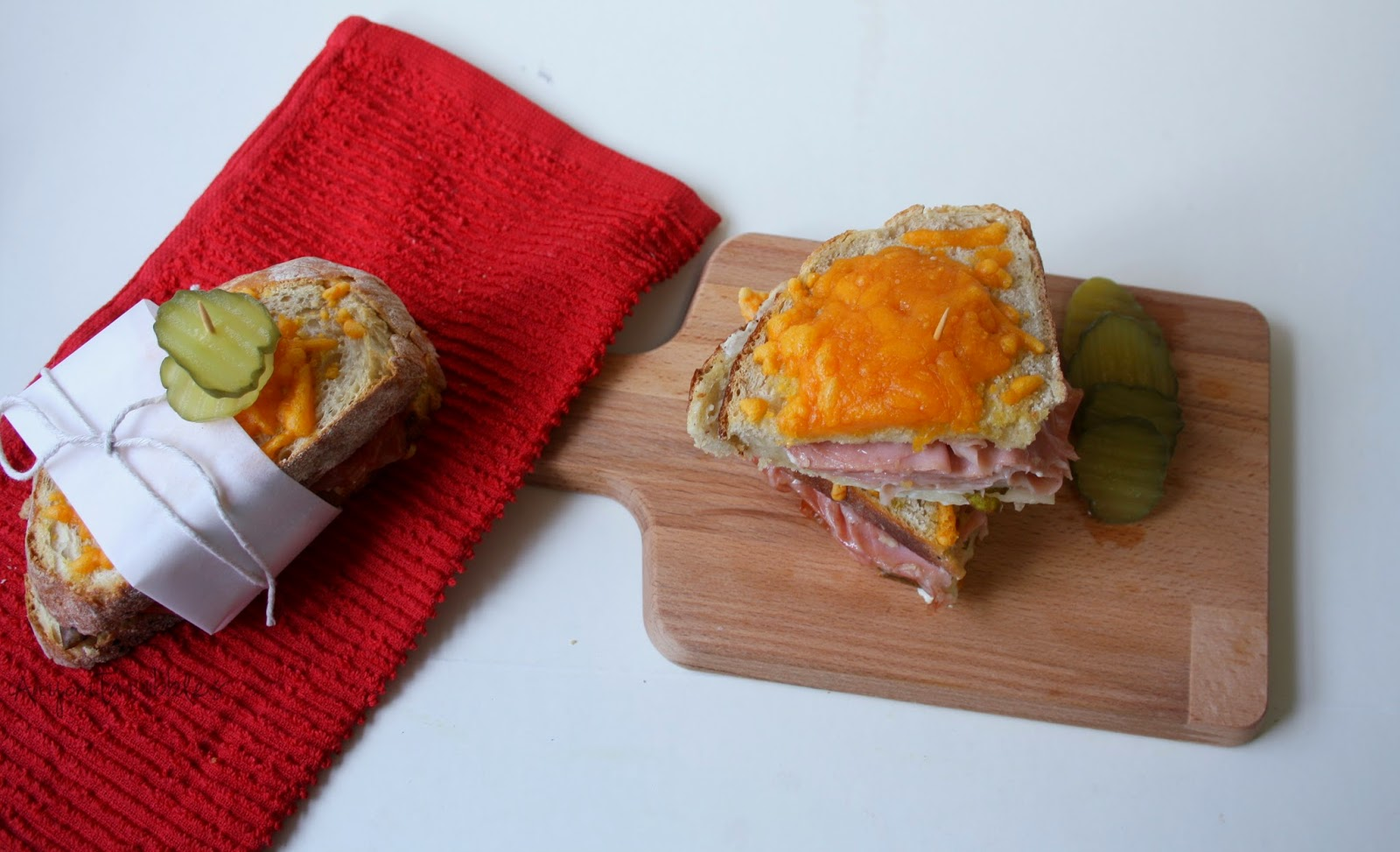 Cheese topped mortadella and pear oven sandwiches | Anyonita Nibbles