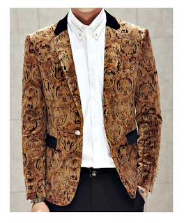 Very Stunning Golden Tiger Design Velvet Blazer