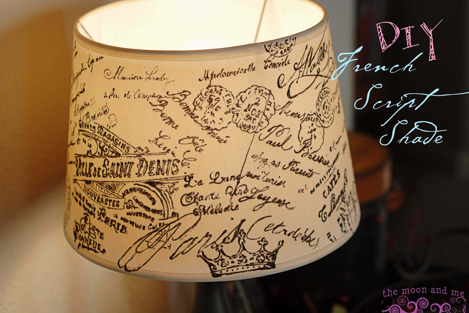 The moon and me diy french script lampshade copycat diy french script lampshade copycat aloadofball Image collections