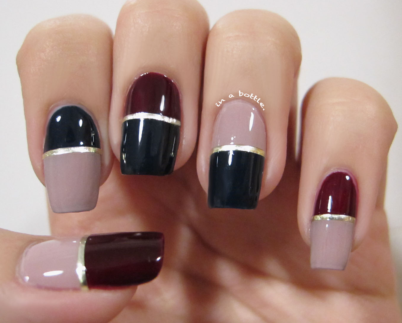 Winter Color Block Nails