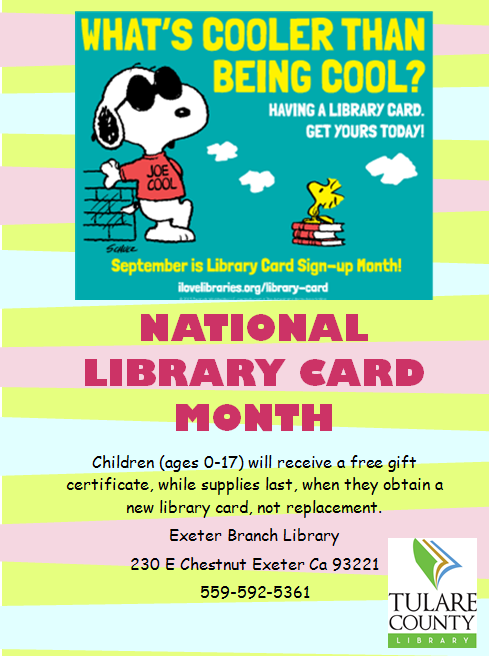 tulare county library news and events september is