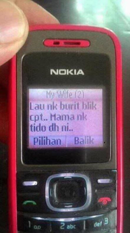 SMS Isteri Buat Suaminya yang Membuatkan Suami Nak Balik Cepat