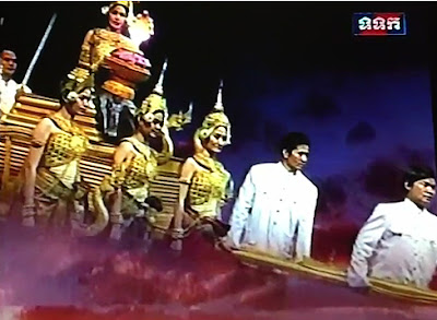 Khmer New Year play on Cambodian television, new year's goddess and dragon fly in from Heaven