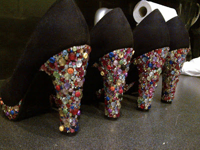 Crystal rhinestone gem heel platform shoes