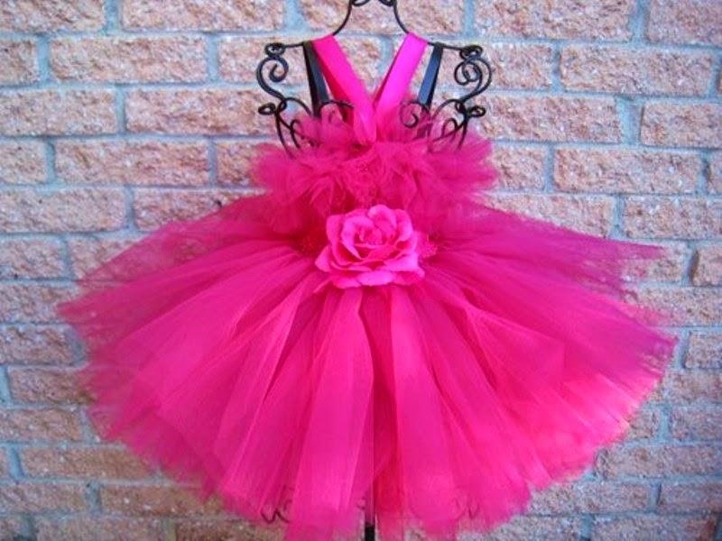 Baju model tutu dress warna pink model terbaru untuk anak perempuan