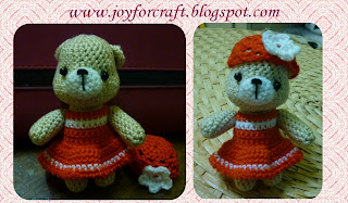amigurumi crochet craft cute bear in red dress