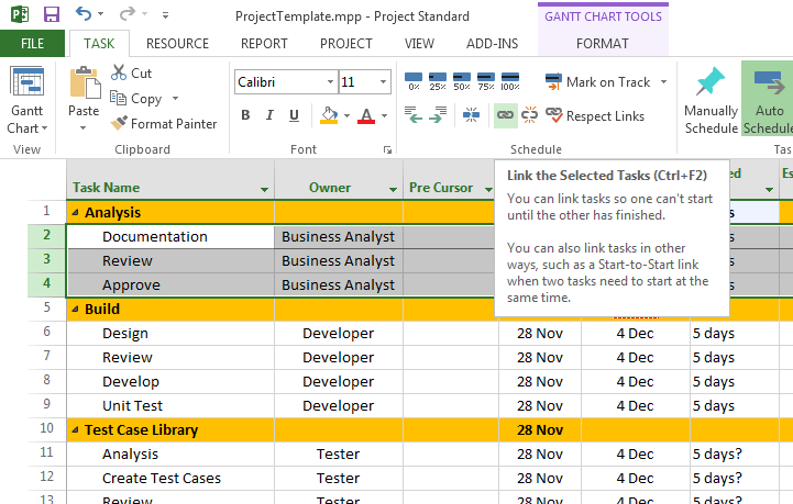 Sample MS Project Plan Template Free Download