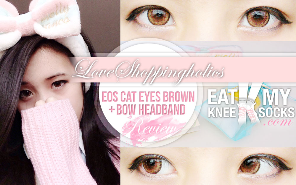 The Eat My Knee Socks intro photo for the Love Shoppingholics EOS Cat Eyes Brown lenses + bowknot headband review.