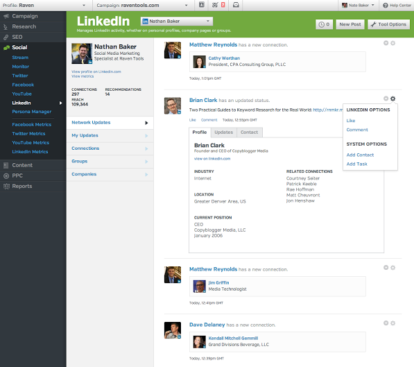 See post and profile details from Linkedin
