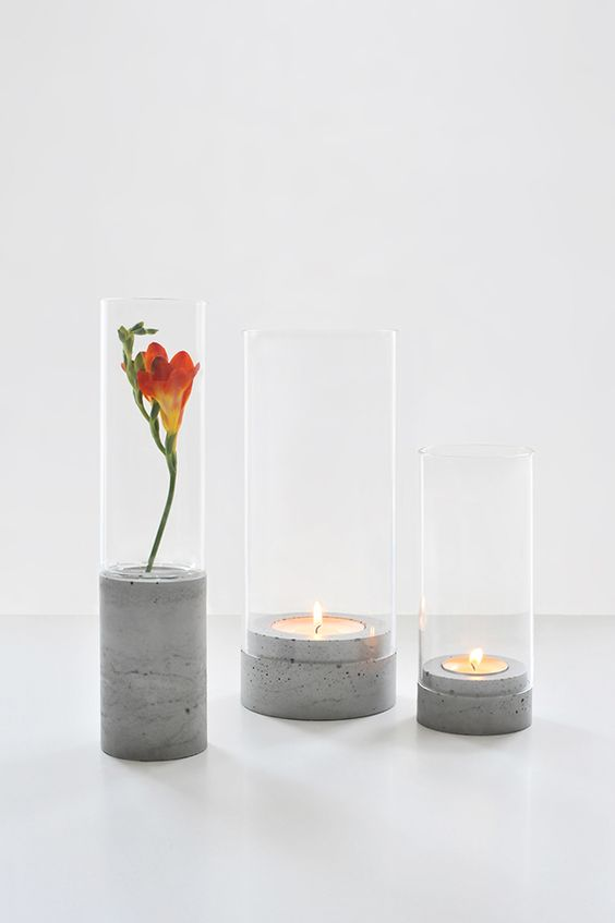 vaso de concreto com vidro