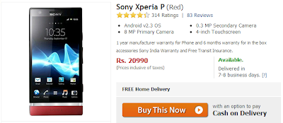 Sony Xperia P Price Drops via Flipkart