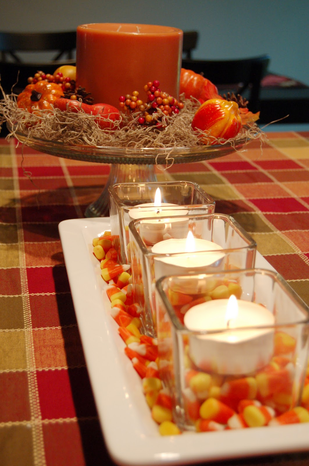 Crafty teacher lady throwback thursday dollar store fall for Pictures of fall table decorations