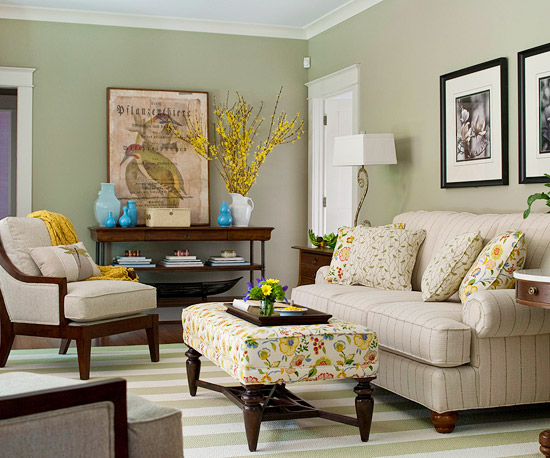 Reversing The Traditional Role Of Neutral Walls With Colored Furnishings This Living Room Boasts A Soft Green Backdrop That Shows Off Upholstery Pieces In
