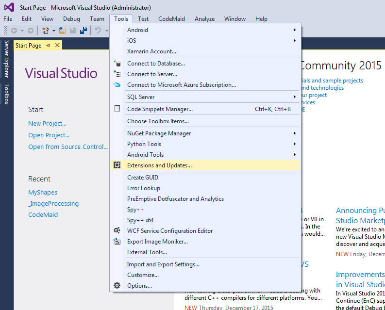 how to write code in visual studio