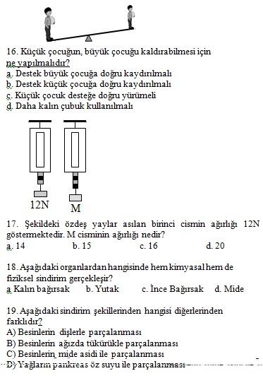 Fen ve teknoloji 1 dönem 2 yazılı sınav soruları 2012 2013