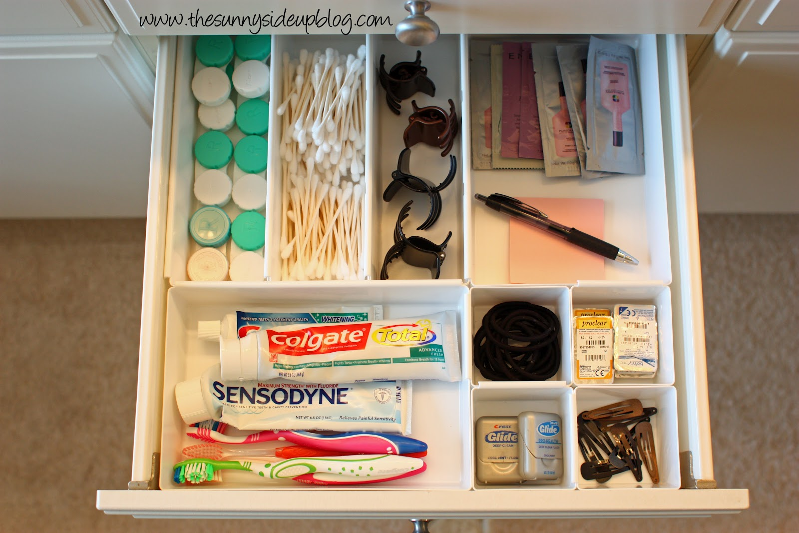 Organized bathroom drawers the sunny side up blog for Bathroom storage ideas b q