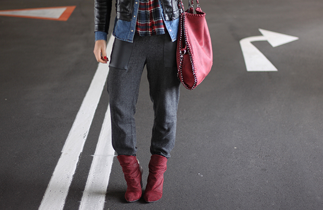 outfit trend fashionblogger herbstoutfit winteroutfit tartan kariert bershka jeansbluse hm lederjacke baggyhose zara supertrash boots bordeaux tasche falabella 03