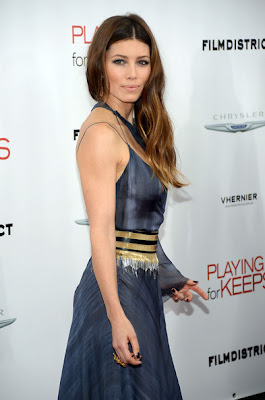 Jessica Biel Playing For Keeps Premiere beautiful blue dress