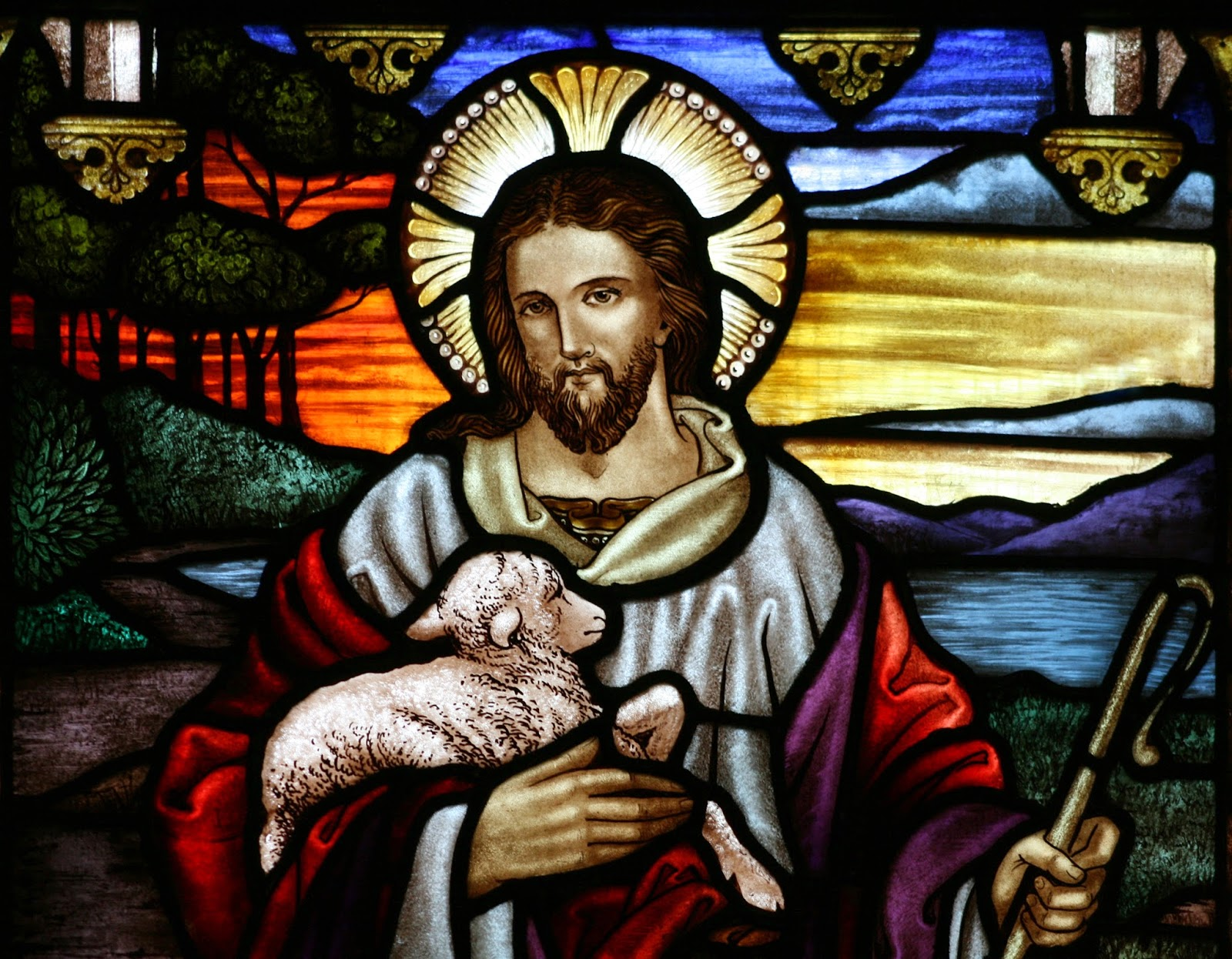 Wikipedia image for Christianity - Jesus the Good Shepherd Stained Glass window- Jesus with lamb