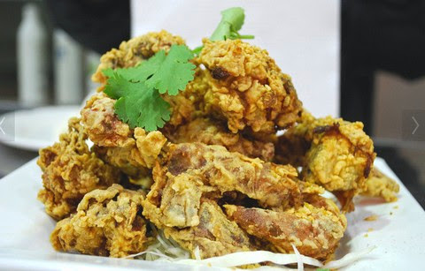 Spicy Crab Fritters with Mustard and Pepper
