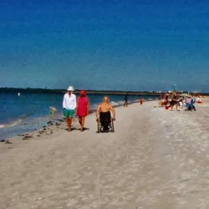 Rollstuhl fahren am Strand Fort Myers Beach