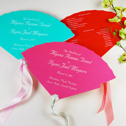 Help guests beat the heat with these wedding fan program favors