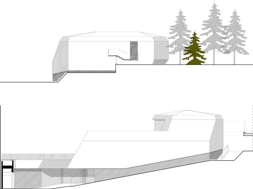 Sections of Ultra Modern House by architekti.sk, Slovakia