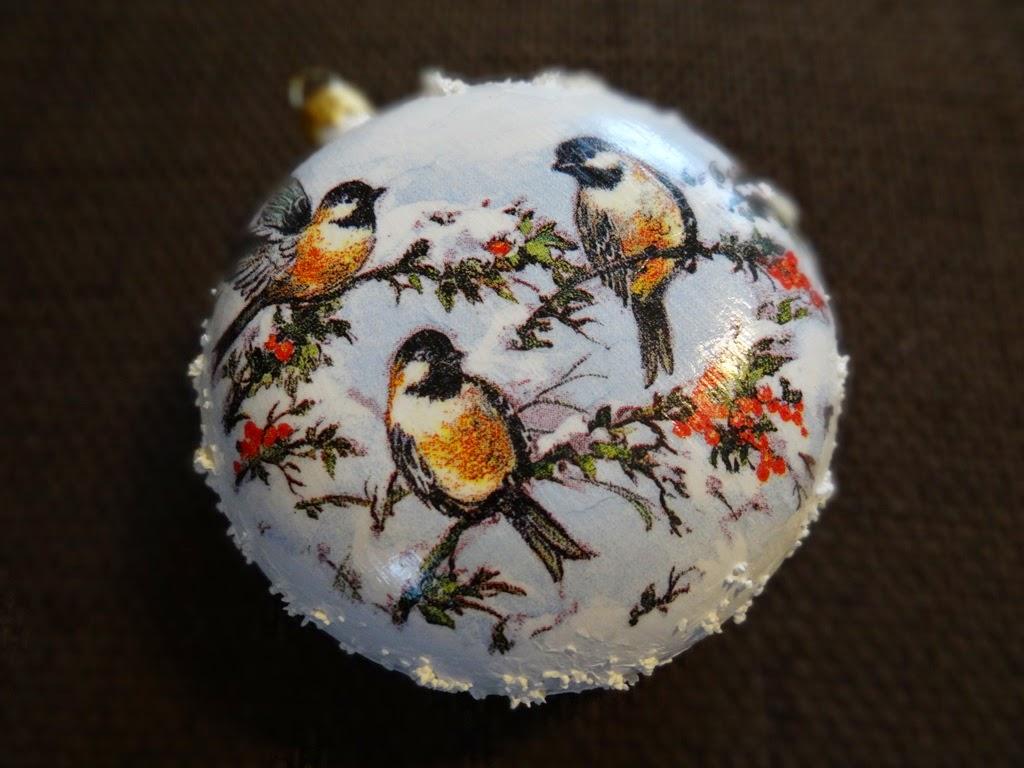 bombki decoupage ze śniegiem, ptaszki