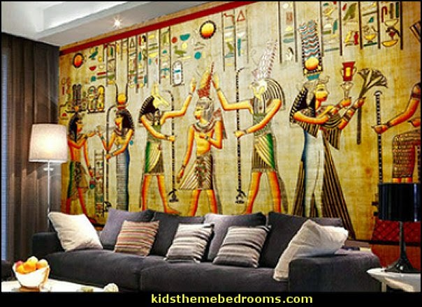 Decorating theme bedrooms maries manor egyptian theme for Egyptian mural art
